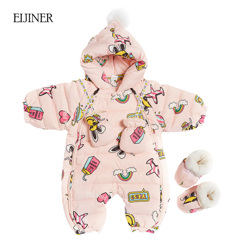 90% White Duck Down Baby Rompers Winter Thick Warm Baby boy Clothing Long Sleeve Hooded Jumpsuit Kids Newborn Outwear for 0-12M winter baby rompers organic cotton baby hooded snowsuit jumpsuit long sleeve thick warm baby girls boy romper newborn clothing