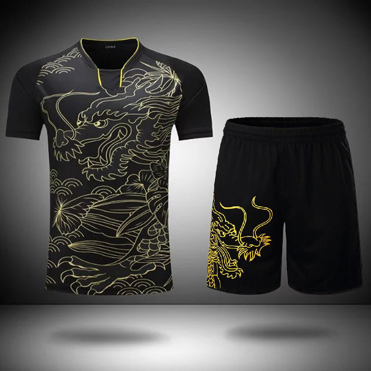Suit-Shirt Jersey Table-Tennis-Clothes Pingpong-Set Dragon Short Sportswear Team-Uniform