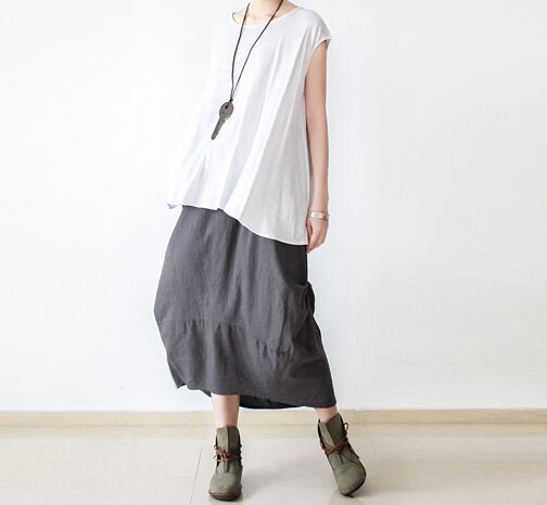 women skirt vintage jupe femme retro saia womens Gray Green skirts saias faldas midi sum ...