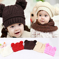 Hot New Sweet Baby Boys Girls Toddler Knitted Crochet Beanie Kids Winter Dual Ball Knit Hat Caps For Children bonnet enfant Z1