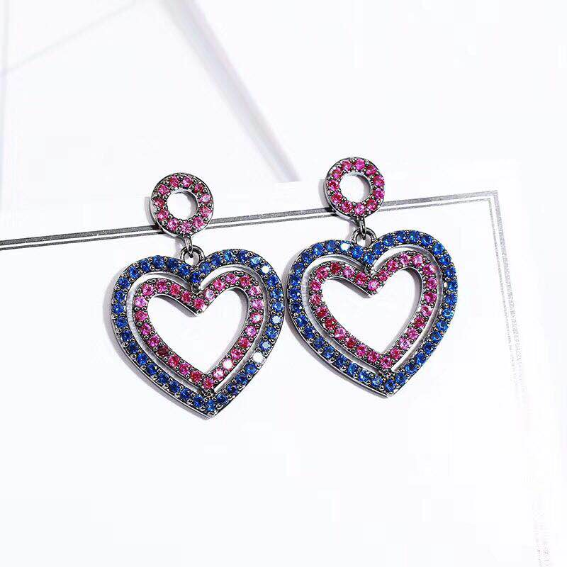AAA Cubic Zirconia Heart Shaped Hollow Design Drop Earring With Colour Blue And Pink Stone For Women Party Accessories цена