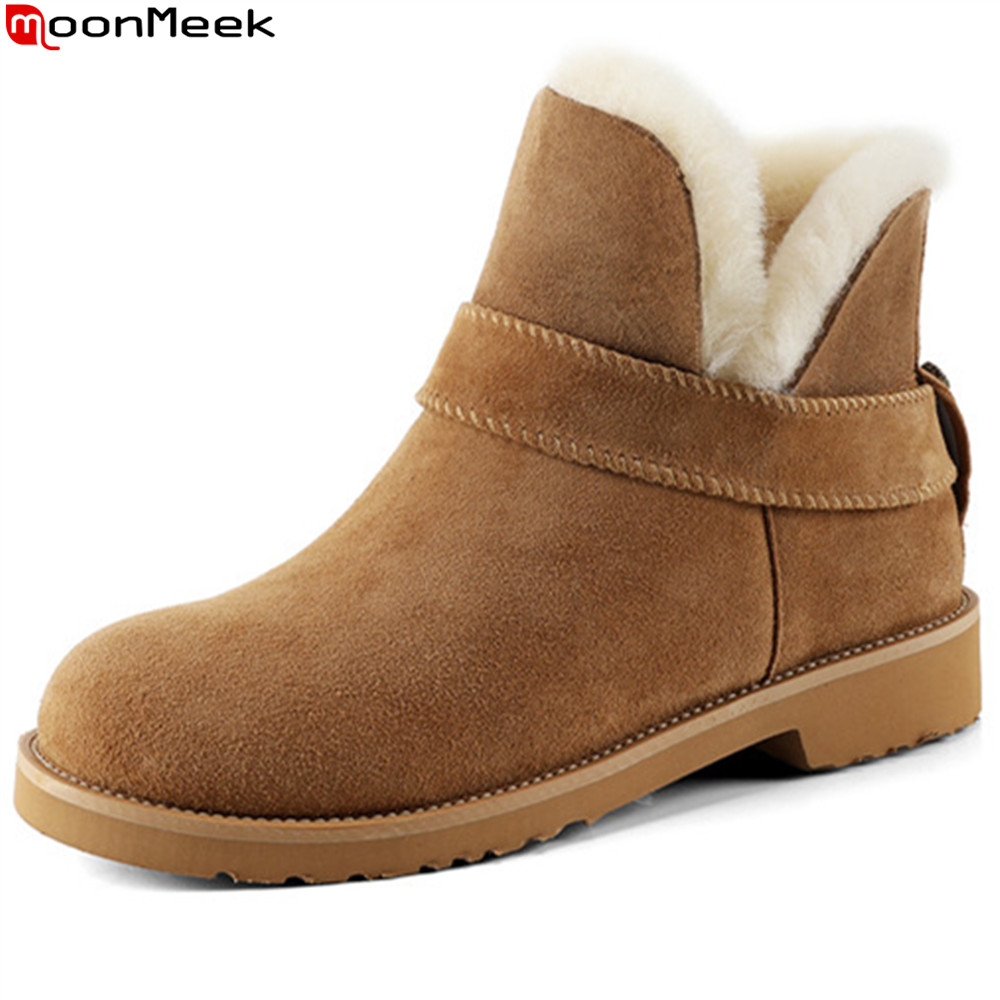 MoonMeek winter sheepskin Fur integrated women boots round toe real nubuck leather buckle snow boots brown low heel ankle boots women winter flats genuine leather round toe match colored buckle rhinestone fur fashion ankle snow boots size 35 39 sxq0826