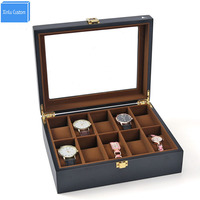 Black Paint Luxury EU Vintage Man women Storage&Display Watch Boxes Jewelry/Watch Grids Velvet Watches Cases Gift Packaging Box