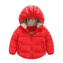 Новый верхняя одежда пальто мода дети куртки для Мальчиков девочек Зимняя куртка Теплая с капюшоном детская одежда Красный 18 М = 80 СМ