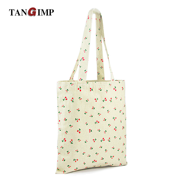 Tangimp Fl Daisy Eco Handbags Cherry Flower Cotton Linen Canvas Ping Totes Reusable Shoulder Book Bags
