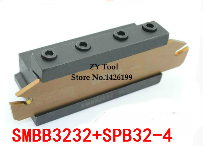 1PCS SPB32 4 NC cutter bar and 1PCS SMBB3232 CNC turret set Lathe Machine cutting Tool Stand Holder For SP300 ZQMX3N11 cut holder cutting tool holder lathe cutting tool holder - title=