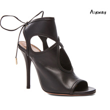 Aiyoway 2019 Spring Fashion Women Shoes Peep Toe Lace Up High Heels Sandals  Cut-out Ladies Party Dress Black