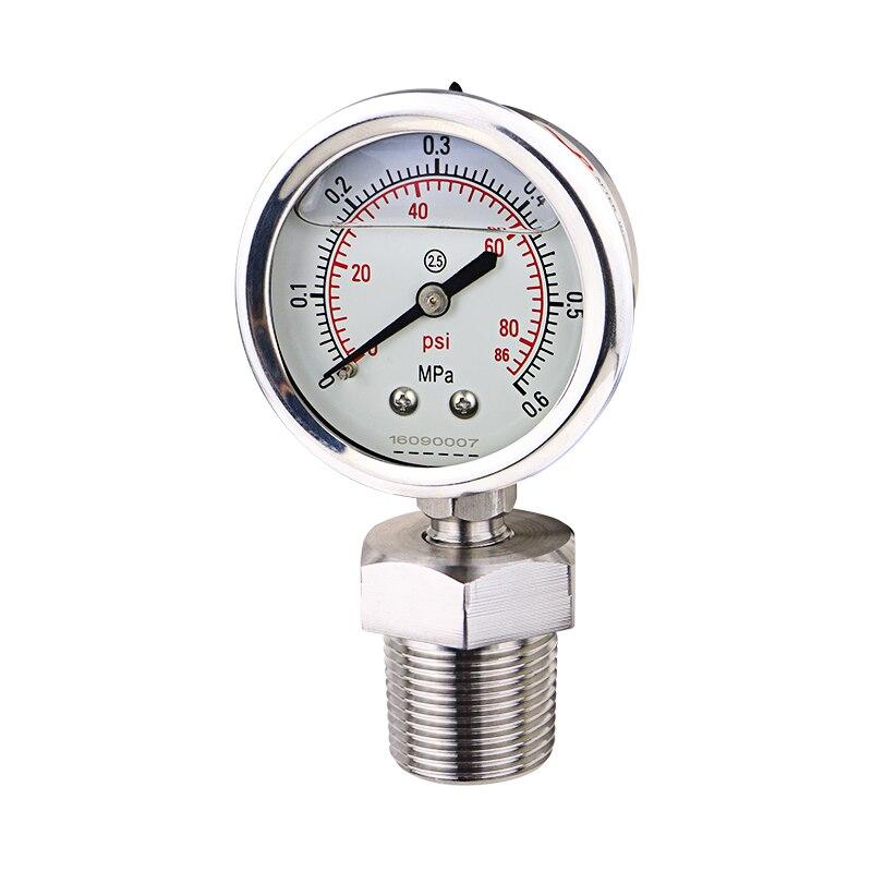 Manometer 3/4in. NPT Male Threaded Daiphragm Pressure Gauge SS304 Stainless Steel Membrane Gauge