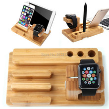 For All Apple Watches i Watch Stand Pc Tablets Bamboo Charging Station Dock Pen Holder For Huawei /For IPhone 7 Pro 6S 7 PLUS SE