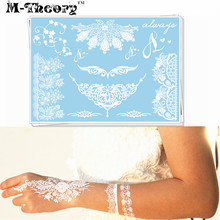 M-theory Wedding Temporary Makeup Tattoos Body Arts White Lace Tatto Flash Tatoos Sticker 21x15cm Dress Swimsuit Makeup Tools