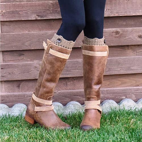 Las mujeres de invierno calentadores de la pierna de nylon de lana hueco ganchillo calcetines de punto de arranque Toppers de esposas