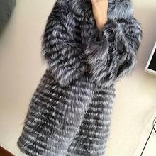 Зимняя натуральная черно-бурая лиса шуба женская длинная натуральная Меховая куртка женская вязаная шуба из натурального меха большие размеры