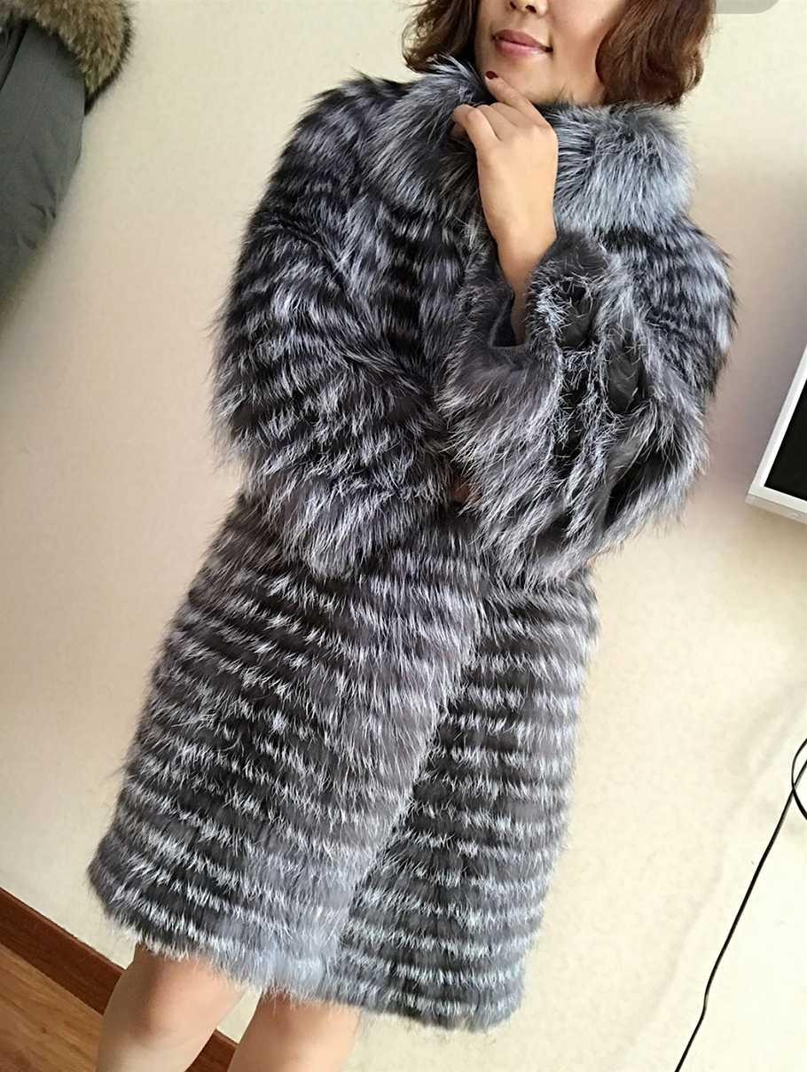 Winter echt silber fuchs pelzmantel frauen lange natur pelz jacke weibliche gestrickte echten pelz mantel damen plus größe