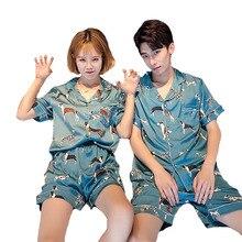 Cặp đôi Bộ Pyjama Bộ Đơn Giản Phong Cách Mùa Hè Dễ Thương Puppy In Lụa Bám Bẩn Áo + quần short Nam Nữ 2 Bộ mềm mại Poplin Đồ Ngủ