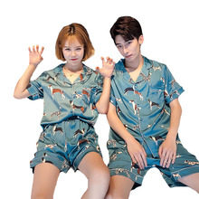 זוג Pyjama סט פשוט סגנון קיץ חמוד גור מודפס משי כתם חולצות + מכנסיים גברים ונשים 2 סט חתיכה רך פופלין הלבשת