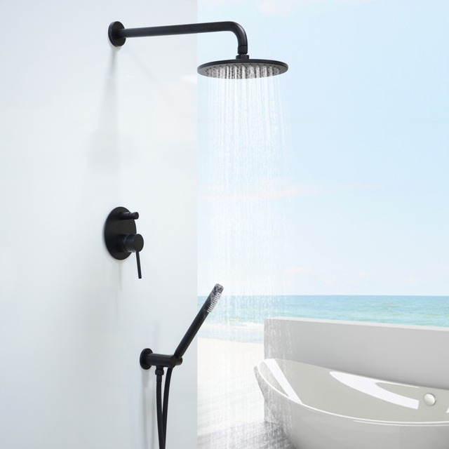 black shower head and faucet. Brass Black Shower Set Bathroom 8  Rian Head Faucet Wall Mounted Arm Diverter