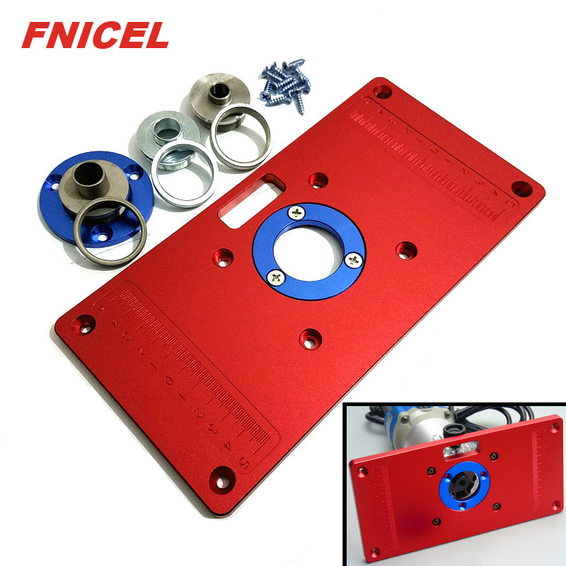 Aluminum Router Table Insert Plate With 2Pcs Insert Ring And 3Pcs Axle Sleeve For Woodworking Bench Tools Wood Router Table
