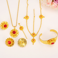 Bangrui Big Fashion Ethiopian Jewelry Sets With Hair Pcs 24k Gold Plated Stone Jewelry Sets For