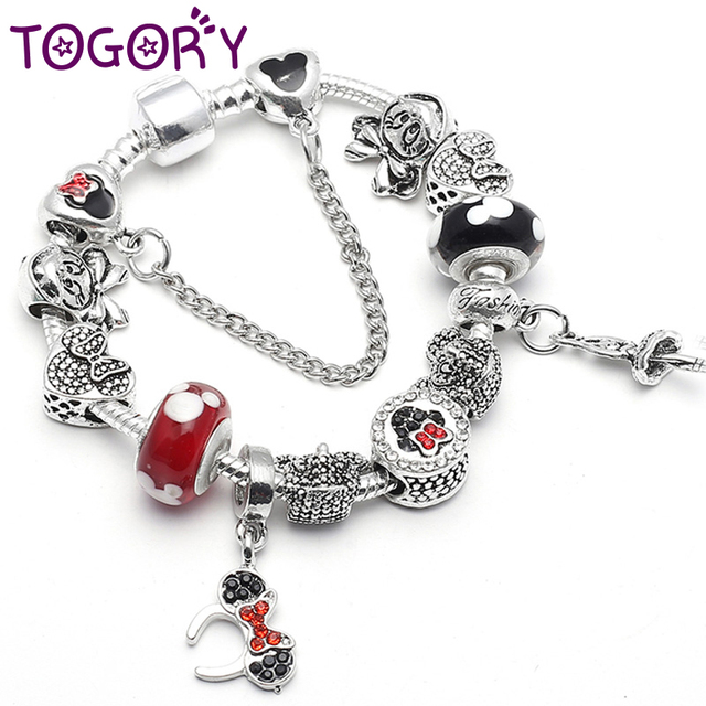 a2cde484db0 US $1.99 25% OFF|TOGORY Dropshipping Silver Color Charm Bracelets For Women  Kids Crystal Mickey Minnie Beads Pandora Bracelets Pulseras Jewelry-in ...