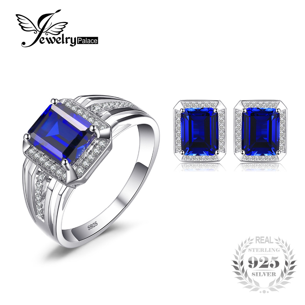 Jewelrypalace Fashion Blue Created Sapphire Men's Cufflink Ring Jewelry Set 925 Sterling Silver Men's Bridal Fine Jewelry promotion 4pcs embroidered baby bedding set kit crib baby bedding bumper 100% cotton include bumper duvet bed cover bed skirt