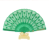 The New 2017 Chinese Style Silk Hand Held Fan Bamboo Folding FanPrinted Blue Plastic FanGYS904