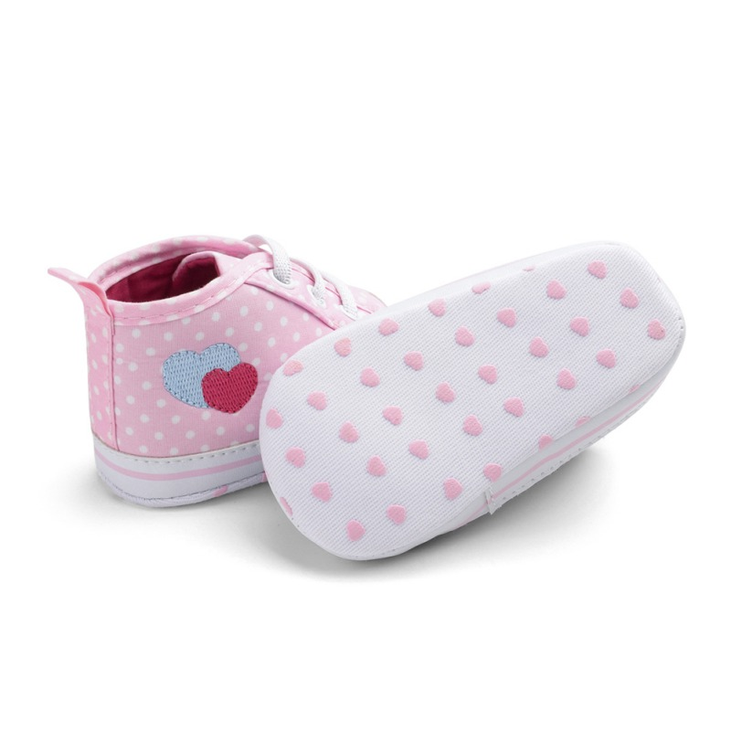 Baby Shoes Baby Kids Girls Heart-shaped Embroidered Cotton Shoes Elastic Band Polka Dot Printing Fabric Elastic Band First Walker Shoes