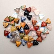 2016 แฟชั่น ASSORTED สามเหลี่ยม Cabochon 10MM Charm หินธรรมชาติลูกปัดสำหรับเครื่องประดับอุปกรณ์เสริม 50 ชิ้น/ล็อตจัดส่งฟรีไม่มีรู