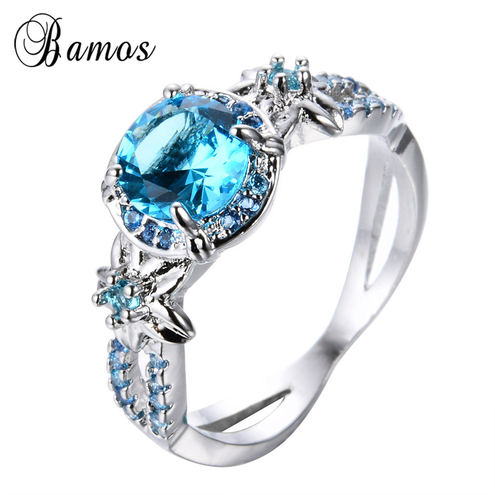 Bamos Fashion Vintage Flower Jewelry March Birthstone Ring For Women  Wedding Band White Gold Filled Lake