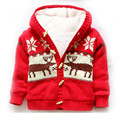 Winter Girl and Boys Knitted Sweater Coat Pullovers Long Sleeve Fleece Thick Warm Christmas Deer Print Cotton toddlers infant
