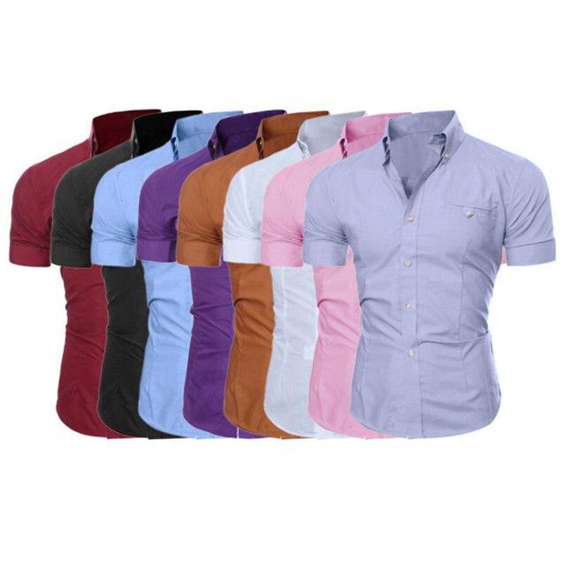 2018 shirt Men Summer Business Stylish Slim Short Sleeve Basic T Shirt Blouse Top Size M-5XL camisa masculina #M21 (16)