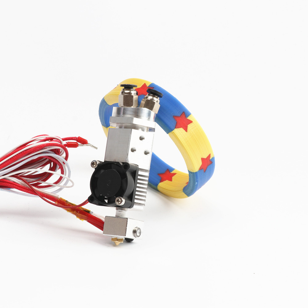 лучшая цена HE3D 3d printer accessories 3 in 1 out Multi-color Extruder hot end Kit three colors switching hotend kit for 0.4mm 1.75mm