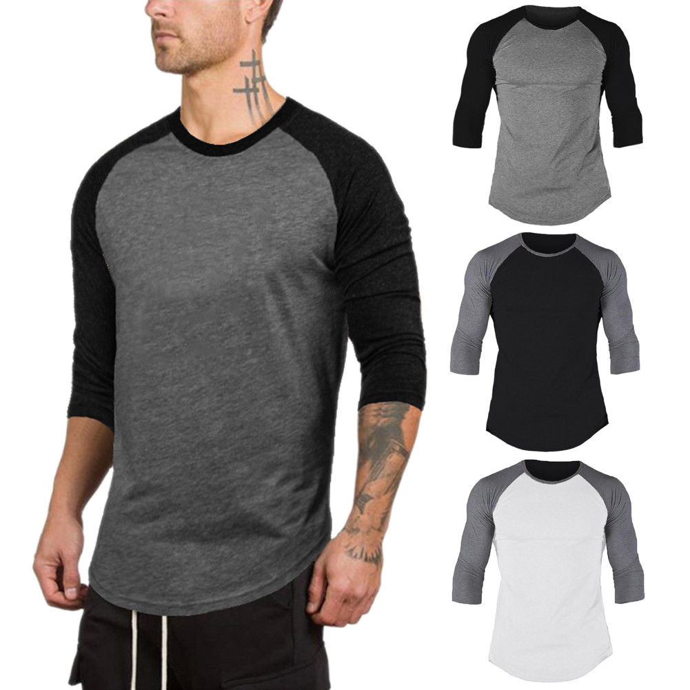 Gym T-Shirts Fitness Quick-Dry Sport Running 3/4-Sleeve Tops Men Tees Muscle-Tee Slim-Fit's