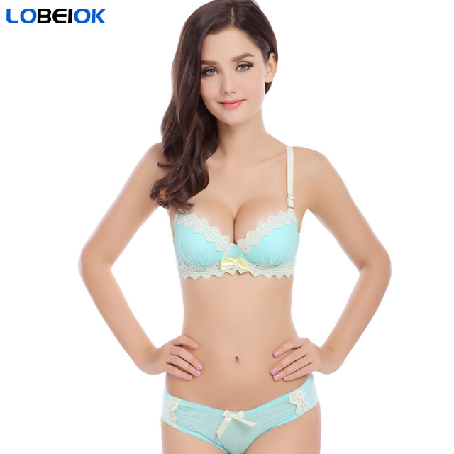 541ee71fd4 LOBEIOK new fashion sexy womens bra and briefs set girls cotton push up  underwear bras suit A B same cup 4color brassiere sets