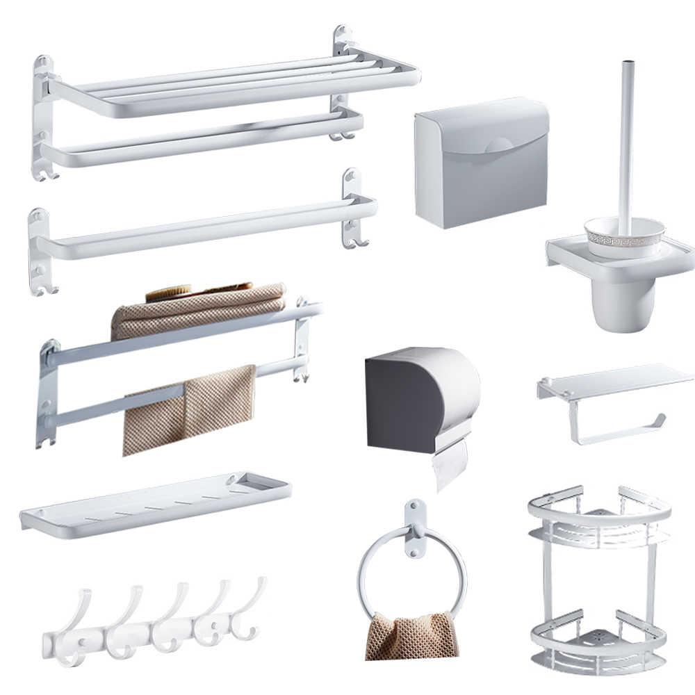 White Tissue Box Nordic Paint White Square Baskets 304 Stainless Steel Glass Shelf Bathroom Soap Dish Bathroom Pendant Set Aliexpress