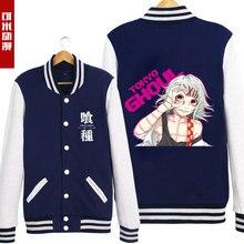 Japan Anime Tokyo Ghoul Cos Hoodies Juzo Suzuya/ Rei Printed Baseball Jacket Single Breasted Winter Jacket Women Men Pullover