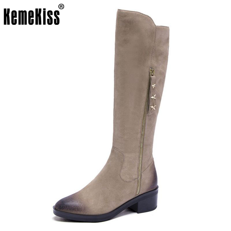 KemeKiss Women Real Leather Over Knee Boots High Heel Boots Patchwork Warm Shoes Cold Winter Botas For Women Footwear Size 34-39 kemekiss women genuine leather elastic over knee boots high heel boots warm shoes in winter long botas women footwear size 34 39