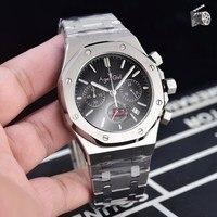 Роскошный бренд Новый хронограф для мужчин секундомер серебро черный белый серый нержавеющая сталь 904L сапфировое стекло большие часы 45 мм