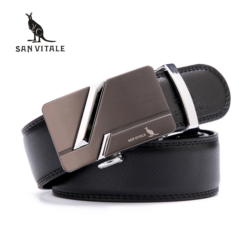 SAN VITALE Designe Mens Belts Cow Split Genuine Leather Luxury Brand Strap for Male 3 Colors