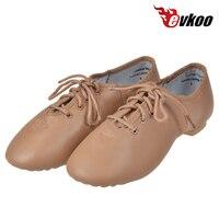 Evkoodance Genuine Leather Black Tan Color Ladies Jazz Dance Shoes For Women EJ 003