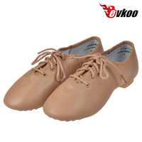 Evkoodance genuine leather black Tan color Ladies Jazz Dance Shoes for women EJ 003