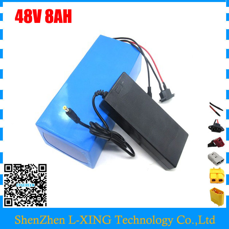 Free shipping Ebike Battery 48v 8Ah 700W Electric Bike Battery 48V with Charger,BMS Lithium Battery 48V Lithium Battery Pack free shipping 48v 15ah battery pack lithium ion motor bike electric 48v scooters with 30a bms 2a charger