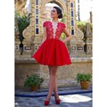 Lace red cap mangas vestidos de baile 2017 transparente mergulhando v neck backless cocktail dress puffy saia curta vestidos de festa formal