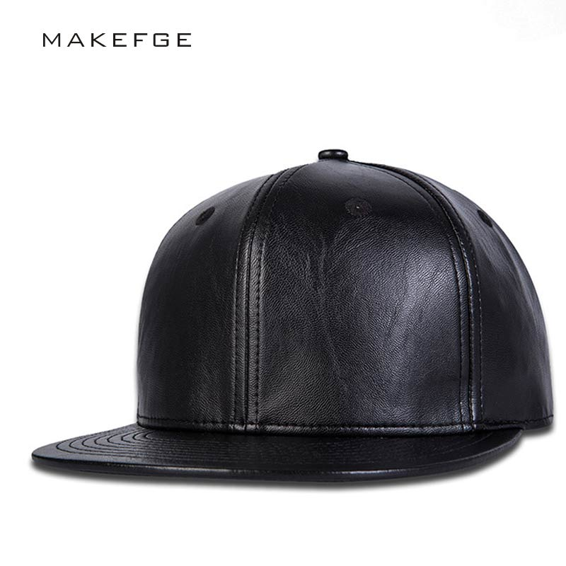 Modes zīmola beisbola cepure Ādas snapback hip hop cepures melna cieta Hip-hop Gorro kapela snap atpakaļ cepures vīriešiem tētis cepure