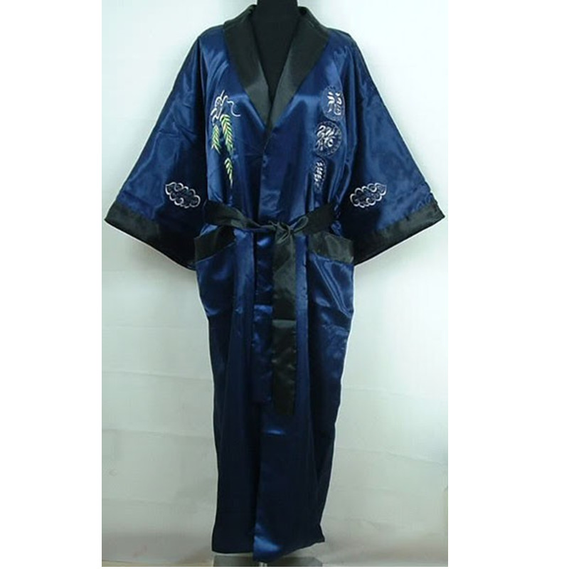 Mens Robe Silk Satin Pajamas Sleepwear Robes Bathrobe Nightgown peignoir  sexy pour hommes dragon embroidered kimono