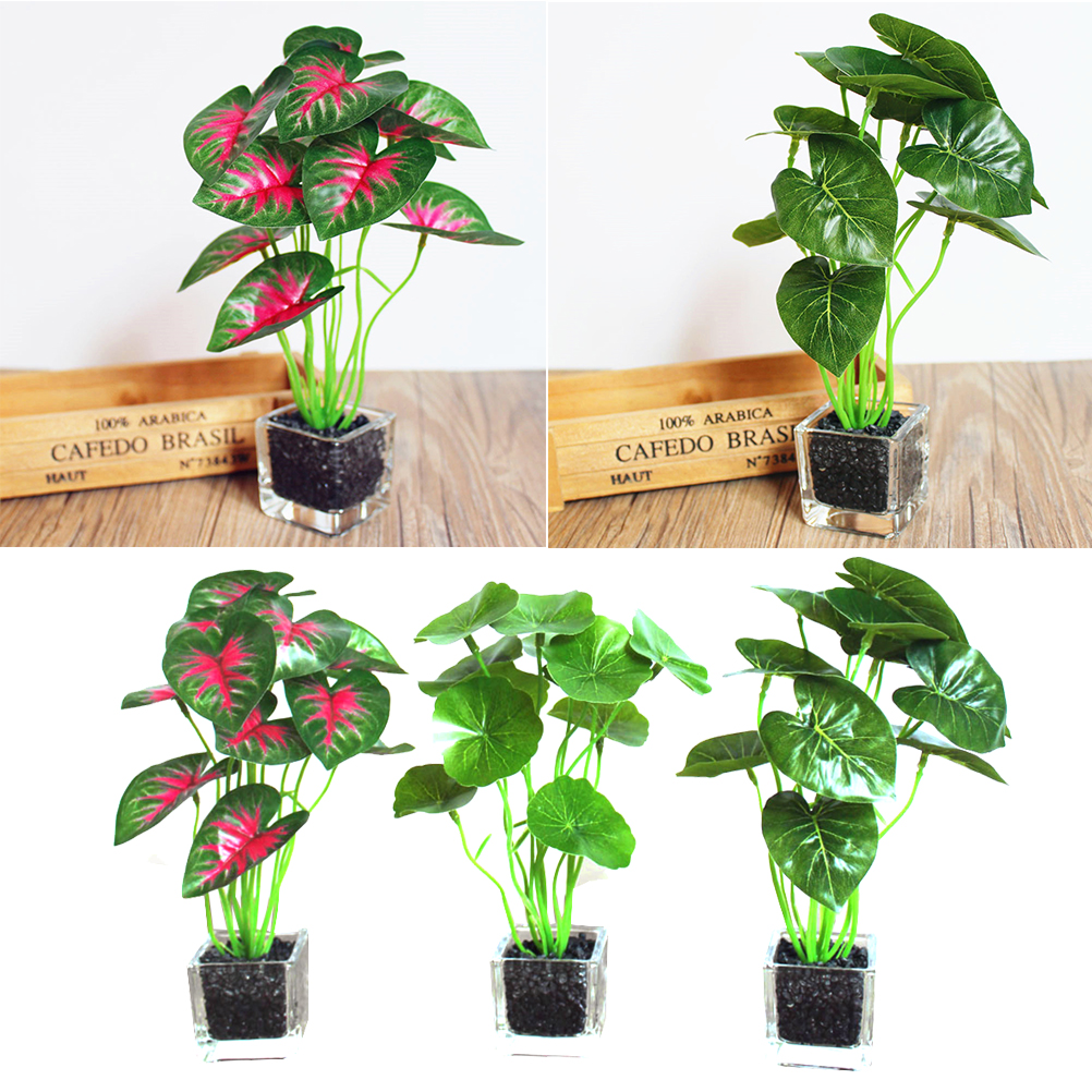 3pcs Pack Simulative Plants Flower Bonsai With Pot Creative Small Ornaments Balcony Garden Decor For Hotel Office School Home in Artificial Plants from Home Garden