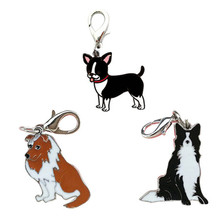 1PC Chihuahua/sheepdog pet dog puppy tags ID identity collar pendant item alloy keychain hanging supply doggy shape on sale
