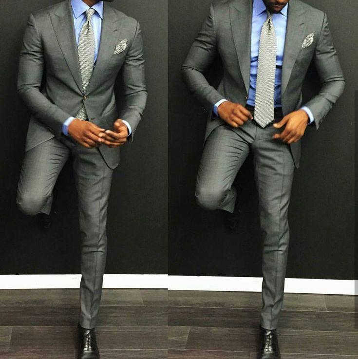 New fashion casual gray men's suit groom suit wedding slim fit dress groom tuxedo men (coat + pants)