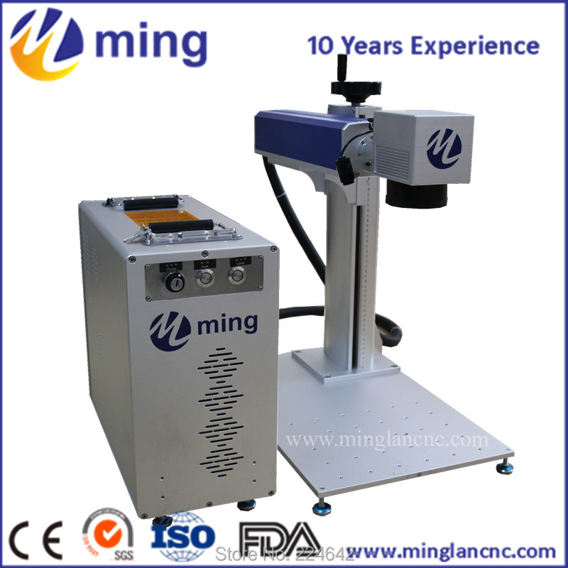 automatic 20w fiber laser marking machine with rotary chuck for stainless steel,aluminum,and other metal parts,CNC,air cooling
