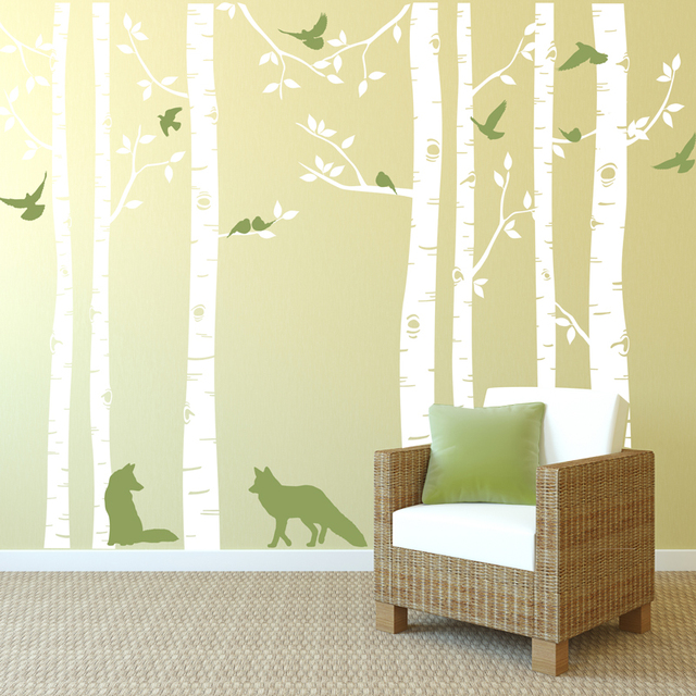 Fox And Birch Tree Wall Decals Available In Different Colors Big Tree Wall  Decor Living Room