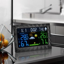 Wireless In/outdoor Weather Station Color Digital Clock Temperature Humidity Sensor Barometer Forecast Desktop LED Alarm Clock все цены